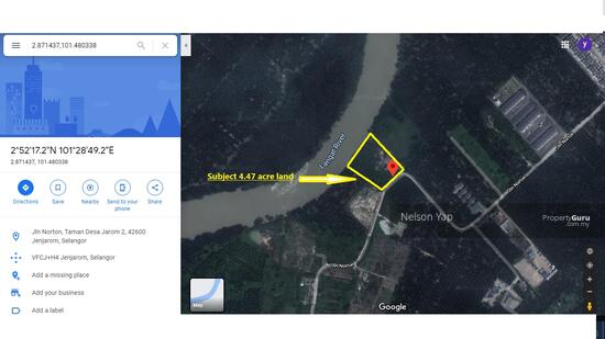 Jenjarom Selangor 4.47 acre freehold agriculture zone industrial land for sale  156333392