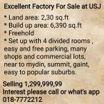 Excellent Factory For Sale at USJ