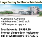 Large Factory For Rent at Mentakab