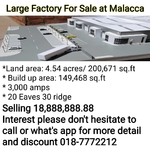 Large Factory For Rent at Malacca