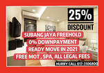 【0% DP】25% DISCOUNT, FREE MOT, 2021 READY Only 1k Booking SUBANG JAYA CONDO FREEHOLD