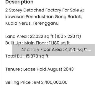 For Sale - Kawasan Perindustrian Gong Badak