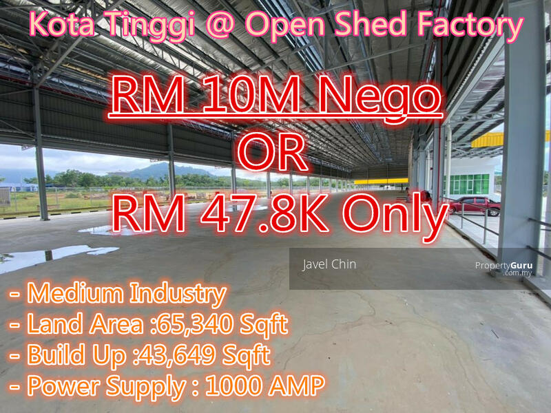 KOTA TINGGI OPEN SHED DETACHED FACTORY @ Medium Industry For Lease #162882063