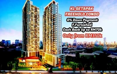 For Sale - KL Setapak FREEHOLD 0 Downpayment Fully Furnished CASHBACK 60K Ready Move In Soon