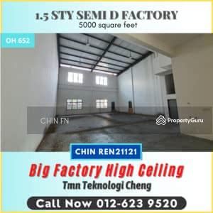 For Sale - 5000 sq. ft Semi D Factory Tmn Teknologi Cheng TTC Batu Berendam Melaka