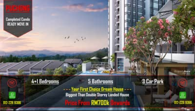 For Sale - Puchong New Completed 5rooms 5bathrooms Lake Condo Hoc Package FREE MOT