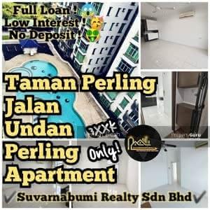 For Sale - TAMAN PERLING JALAN UNDAN PERLING APARMENT FULL LOAN JOHOR BAHRU